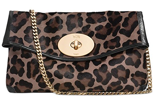 Coach 33607 Turnlock Clutch in Printed Haircalf