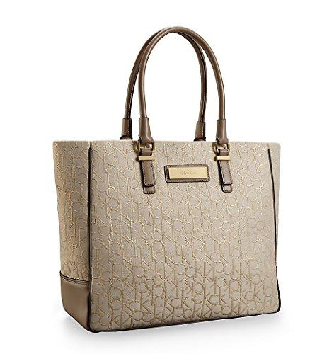 Calvin Klein Candice Logo Jacquard Fabric Shopper Tote Signature Bag Gold Stonebeige