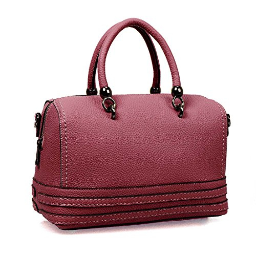 BMC Womens Textured PU Leather Double Top Handle Boston Style Shoulder Handbag