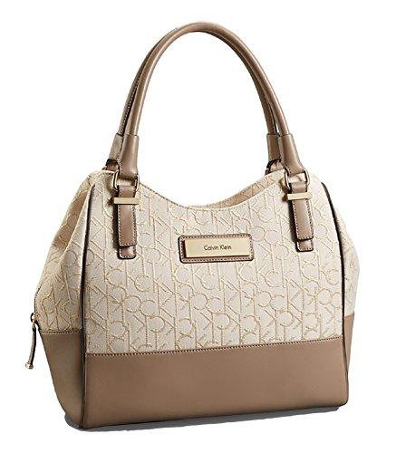 Calvin Klein Candice Center Zip Hobo Handbag Satchel Purse Tote (Natural/Gold/Beige)