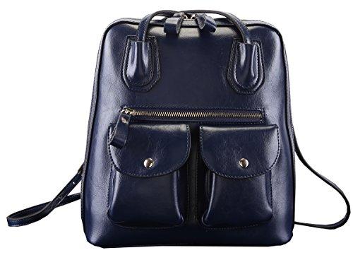 Heshe New Lady's Genuine Leather Simple Style Vintage Shoulder Sling Tote Backpack Messager Bag School Bag Purse Women's Handbag