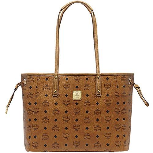 2014 AW Authentic MCM SHOPPER PROJECT Medium Size Reversible Shopper Bag Cognac Color MWP4AVI38CO