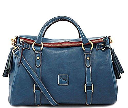 Dooney & Bourke Florentine Vachetta Large Satchel Denim Blue 8L940