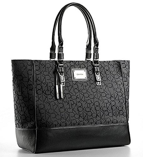 Calvin Klein Womens Logo Jacquard Fabric Shopper Tote Shoulder Bag Handbag (Black)