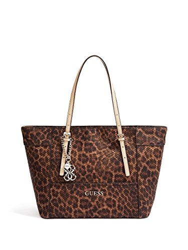 GUESS Women's Delaney Leopard-Print Small Classic Tote