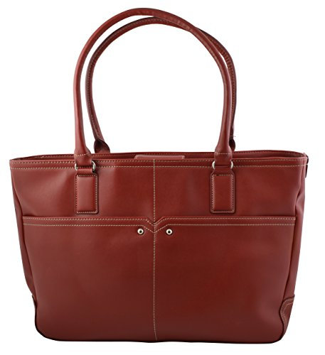 Supreme Elegant Work Tote, Business Women's Laptop Tote Bag with Padded Compartment for Computer up to 14.5″ – Red
