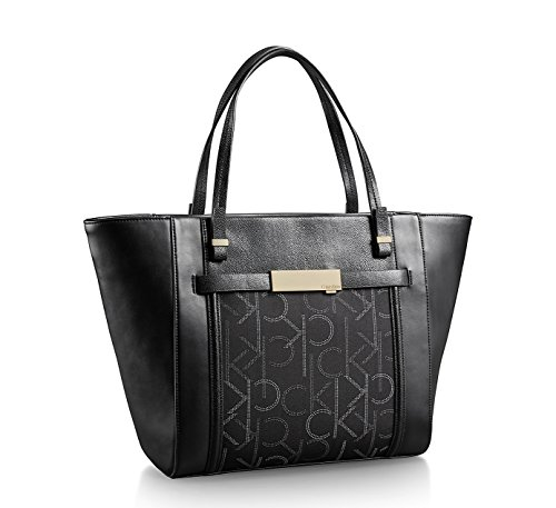 Calvin Klein Addie Traveler Leather Signature Tote Bag Black