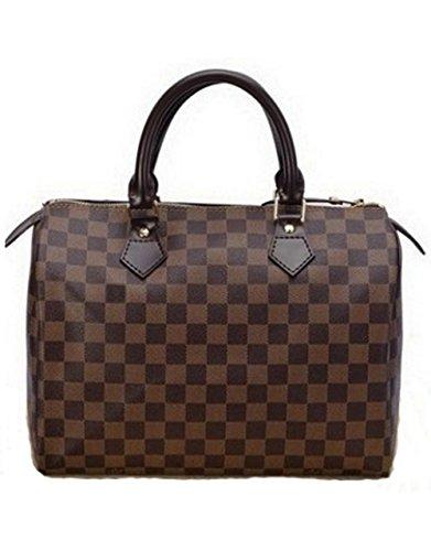 Bushels Handbags Speedy Classic Style Pu Leather Inspired Desinger Brown Plaid Grid Shoulder Bags