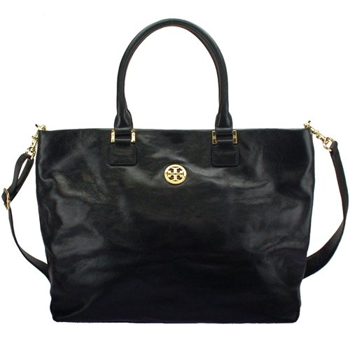 Tory Burch Leather Dena Convertiable Tote Black