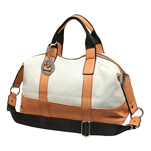 MG Collection PAIGE Orange / White Bowler Tote Style Barrel Hobo Handbag