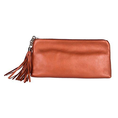 Gucci 100% Leather Bronze Clutch Handbag Evening Bag