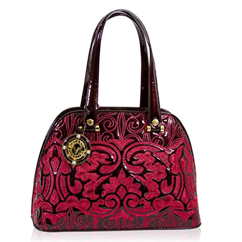 Valentino Orlandi Italian Designer Burgundy Embroidered Leather Bowling Bag