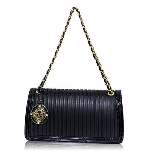 Valentino Orlandi Italian Designer Navy Blue Plisse Leather Clutch Bag w/Chain
