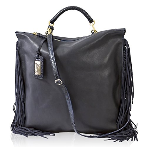 Ghibli Italian Designer Blue & Python Leather Strap Purse Tall Bag w/Fringe