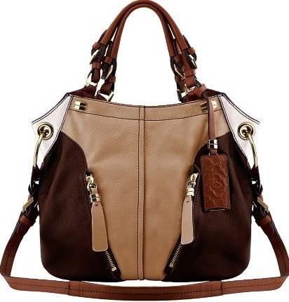 Oryany Honey Multi Pebble Leather Victoria Colorblock Large Hobo Shoulder Bag