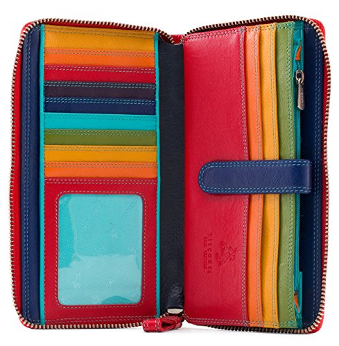 Visconti SP33 Multi Colored Soft Leather Ladies Wallet Purse Clutch 8″ x 4″ x 1″
