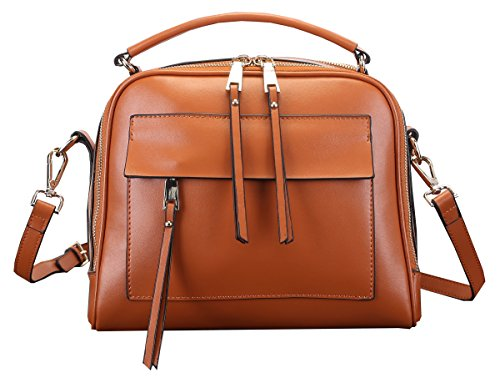Heshe 100% Women's Genuine Leather Casual Fashion Tote Top Handle Shoulder Crossbody Bag Satchel Purse Handbag