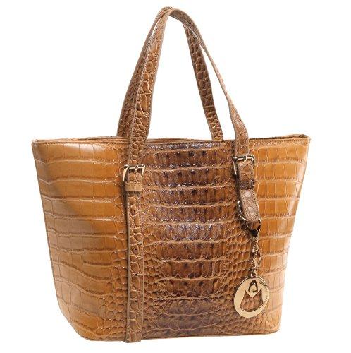 MG Collection TALA Chic Fashion Brown Faux Crocodile Office Bucket Tote Handbag