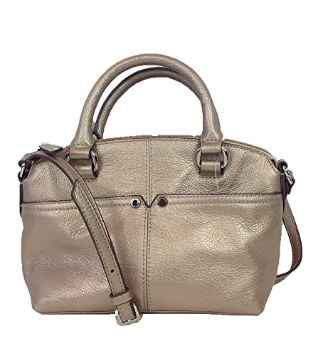 Tignanello Small World Leather Satchel Crossobody, Satin Metal
