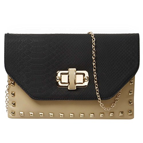 BMC Womens PU Leather Faux Snakeskin Envelope Flap Metal Studded Fashion Handbag