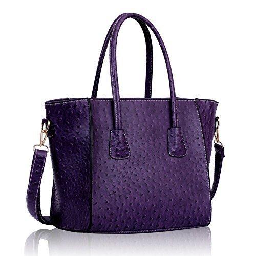 Womens Purple Handbag Ostrich Effect Celebrity Style Tote Bag