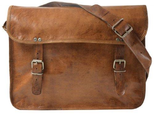 Gusti Leder nature Genuine Leather Satchel Messenger Shoulder Cross-Body Uni College Smart Casual Everyday Vintage Bag Brown Unisex U17
