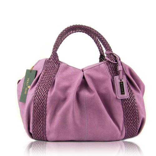 PAOLO MASI Italian Made Lilac Leather Designer Purse with Braided Handles