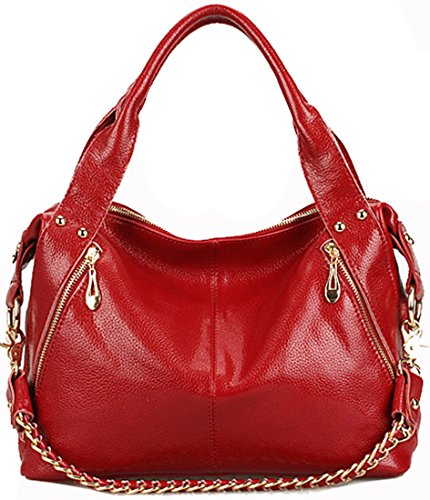 Heshe Genuine Leather Fashion Designer Tote Cross Body Shoulder Bag Handbag W Chain