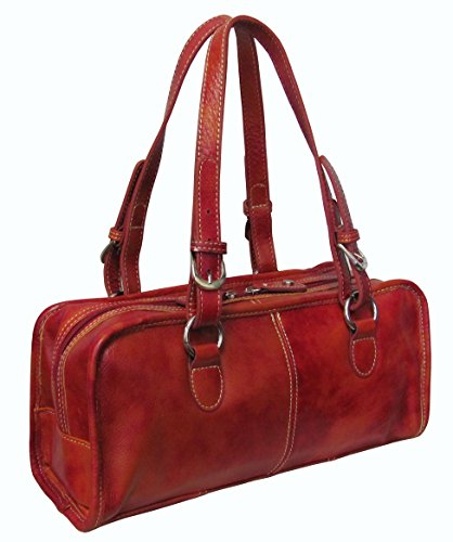 Classy Belt Stitched Leather Satchel (#1828-1 Lava Red)