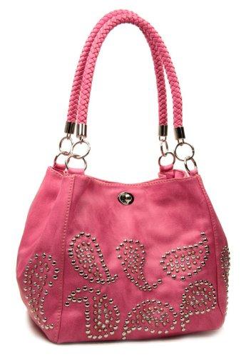 Pink Studded Paisley Designer Purse