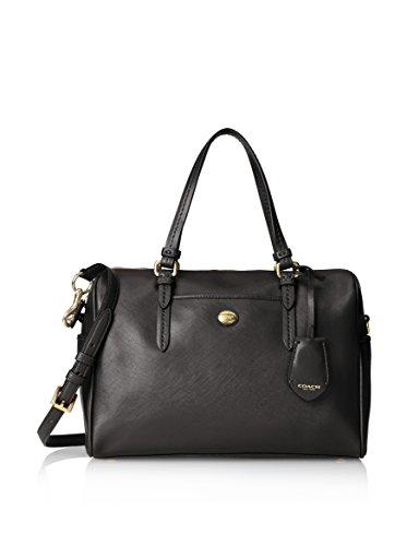 COACH Peyton Leather Nancy Satchel Handbag Black F31403 SV/BK
