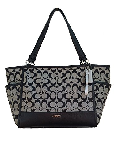 Coach Park Signature Carrie Tote in Black & White