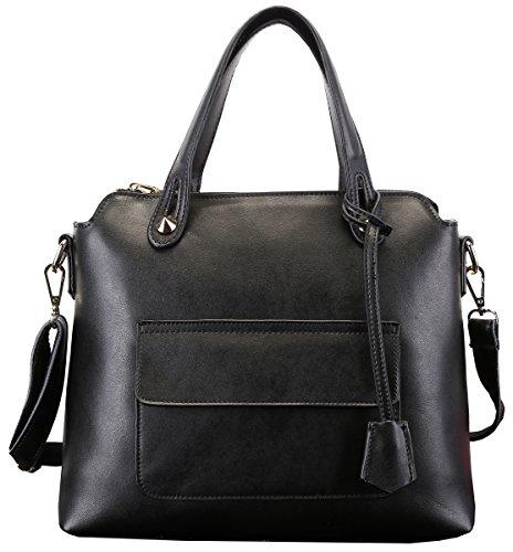 Heshe Genuine Leather New Women's Fahion Double Use Top Handle Tote Crossbody Shoulder Bag Satchel Purse Handbag for Ladies