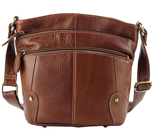 Heshe 2015 New Genuine Leather Vintage Hot Simple Style Shoulder Crossbody Bag Satchel Zipper Closure Handbag for Women