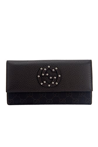 Gucci Monogram & Studs Large Continental Leather Trim Clutch Wallet