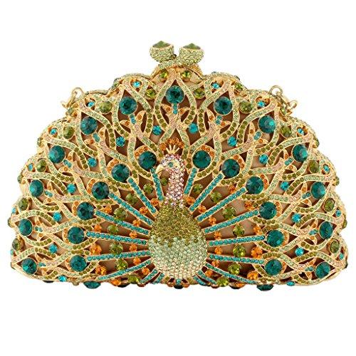 Yahoho Women's Peacock Evening Bag Party Handbag Green with Austrian Crystal