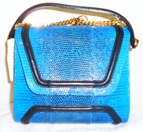 Yliana Yepez Mg Royal Blue Lizard Black Gold Handbag
