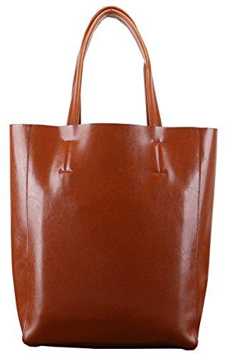 Heshe New Lady's Genuine Leather Wax Cowhide Simple Style Vinatge Lash Package Top Handle Tote Shoulder Bag Purse Women's Handbag