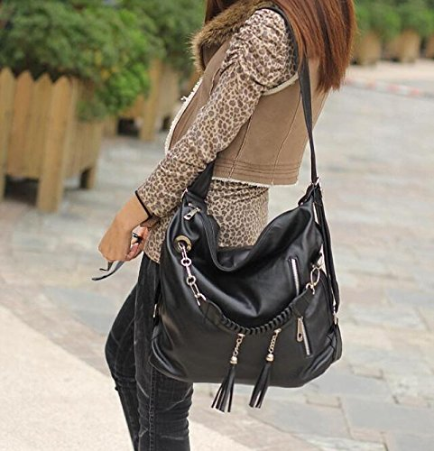 Generic Fashion Women's Hobo Bag PU Leather Handbag Shoulder Bag (Black)