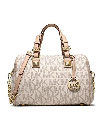 Michael Kors Womens Grayson Chain Medium Satchel Vanilla Handbag