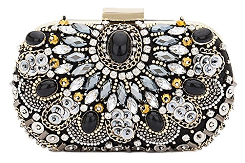 MISSBAGS Vintage Glitter Oval Minaudiere Clutch Sequined Allover Rhinestones Evening Bag Classic Satin Handbag