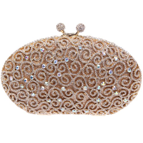 Fawziya Luxury Clutches Kiss Lock Purses Egg Rhinestone Clutch Evening Bag