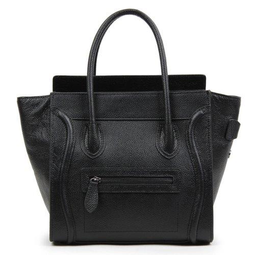 Bagqueen Genuine Leather Smile Handbags Smile Face Handbags Satchel Tote Handbags Purse for Women (Blackness)