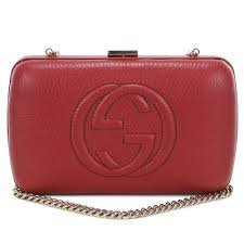 Gucci Soho Leather Hard Case Clutch Rose Bed Bag Authentic New