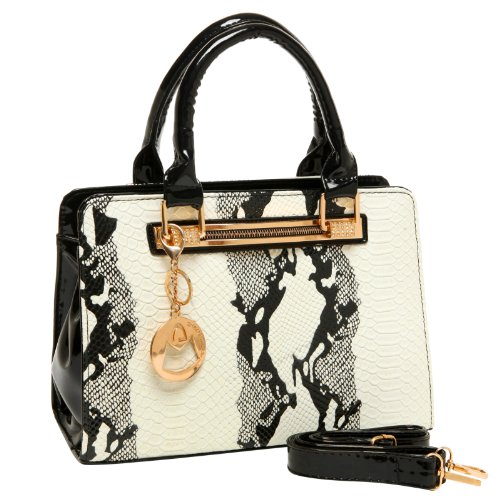 MG Collection EVA White Faux Python Skin Embossed PU Patent Leather Tote Handbag