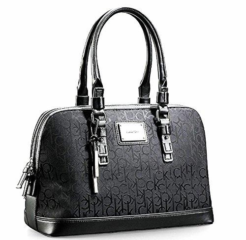 Calvin Klein Logo Jacquard Print Dome Satchel (Black)