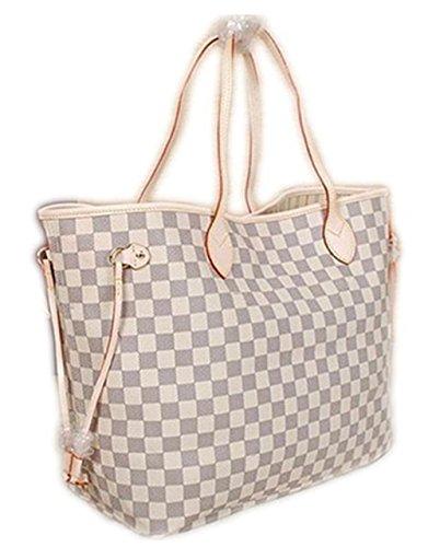 Bushels Handbags Pu Leather Inspired White Neverfull Designer Women's Tote Shoulder Bag