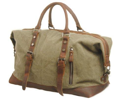 Blueblue Sky Oversized Leather Canvas Casual Travel Tote Luggage Duffel Handbag#831