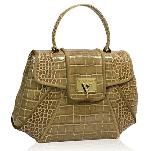 Valentino Orlandi Italian Designer Toffee Croc Leather Large Top Handle Bag