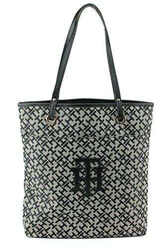 Tommy Hilfiger TH Logo Handbag Tote in Black & Tan